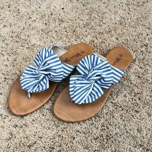 Pinstripe blue and white sandals
